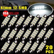 20 X 6000K White 42MM 41MM Festoon Dome Map Interior LED Light bulb 211-2 212-2