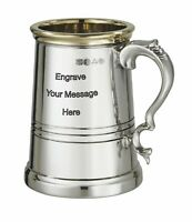 NEW Personalised 1 Pint Worcester Polished Pewter Tankard Any Message Engraved