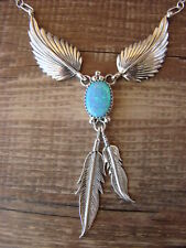 Silver Necklace by V. Betone Native American Jewelry Opal Feather Sterling