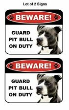 2 Count Beware Guard Pit Bull (Black & White) on Duty (v1) Laminated Dog Sign