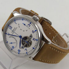 43mm parnis white dial Power Reserve Blue Marks Automatic Mechanical men's Watch