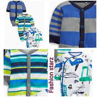 NEW*BNWT NEXT BABY BOY NEWBORN 0-1 0-3-6-9 TRANSPORT BLUE SLEEPSUITS/BABYGROWS