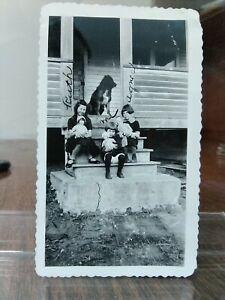 Vintage Photo Girls Creepy Dolls Dog Porch L11