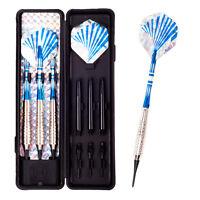 3 Stück Pro Nickel Plated Nadel Spitze Dart Set / Box 16 / 18g Sport Blau