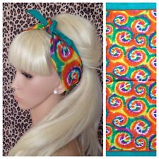 RAINBOW MULTICOLOUR CND SWIRL PRINT BANDANA HEAD BAND HAIR NECK SCARF HIPPY BOHO