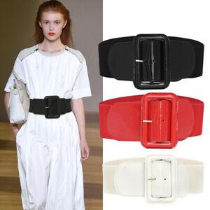 Women Faux Leather Wide Stretch Elastic Buckle Cinch Waist Wide Belt Ladies