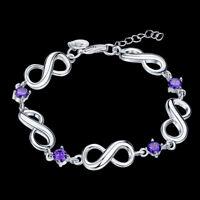 5.5 CARAT Amethyst & Crystal Accent Infinity Bracelet in Brass