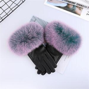 Women's Real Sheepskin Leather Gloves Fox Fur Cuffs Mittens Winter Warm Glove