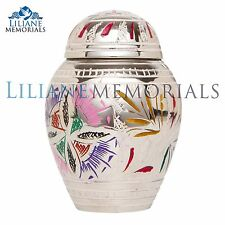 Silver, Colorful Flower - Funeral Cremation Urn,  Keepsake