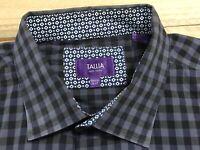TALLIA Mens Long Sleeve Button Down Plaid Blue Dress Shirt Size XXL 18 1/2 EUC