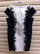 STYLISH PAPER DOLLS PLUS SIZE BLUE/WHITE BLACK LACE DRESS SIZE: 28 RRP:$149.99