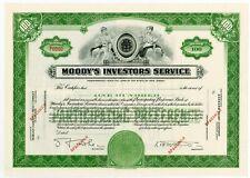*RARE* Moody's Investors Service Specimen Stock Certificate - 1940s - MINT