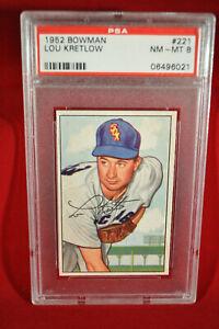 1952 Bowman - #221 - Lou Kretlow - PSA 8 - NM-MT