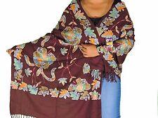 """Dark Chocolate Floral Kashmir Embroidery Wool Shawl Dress Wrap Fashion Scarf 80"""""""