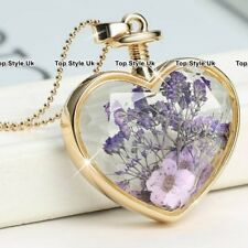 Amethyst & Gold Heart Necklace Christmas Jewellery Xmas Gifts For Her Women A1