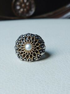RARE Sterling Silver 925S 18K Gold Freshwater Pearl Ring GEROCHRISTO Size 7
