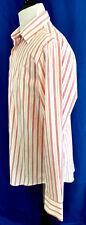 Express1MX Dress Shirt Mens L 16-1/2 White Red Stripe Modern Fit Stretch Cotton