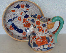 MASON'S IRONSTONE CHINA LARGE SERPENT HANDLE JUG AND BOWL SET