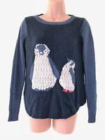 WHITE STUFF blue & navy super cute textured penguin knit jumper size 8 fits 10