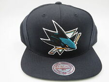 San Jose Sharks Black Teal Wool Mitchell & Ness NHL Retro Snapback Hat Cap