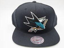 San Jose Sharks Black Teal Wool Mitchell & Ness NHL Retro Snapback Hat Cap