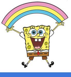Spongebob Squarepants with Rainbow Enamel / Metal Shaped Pin Badge (nm)
