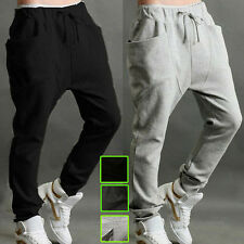 Men's Plain Casual Sports Baggy Harem Hip Hop Dance Trousers Jogger Sweat Pants