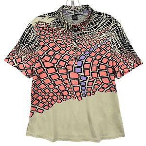 Jamie Sadock Golf Polo Shirt M Womens Short Sleeve Multicolor Geometric Stretch