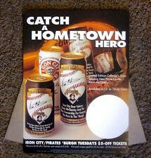 1996 Iron City Beer Cardboard Sign Pittsburgh Pirates New Owner Kevin McClatchy
