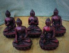 """Dhyani Buddha Statue Set from Nepal 4 1/2"""" Resin Medicine Buddha Shakyamuni"""