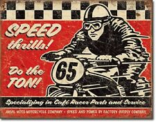 Speed Thrills Cafe Racer Anvil Moto Motorcycle Co. TIN SIGN Wall Decor Poster