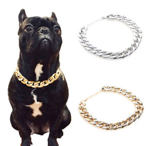 Pet Bully Dog Adjustable Gold Silver Plated Chain Collar Safety Control Necklace