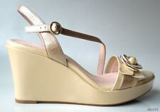 new TARYN ROSE 'Stacy' beige/gold FLOWER wedges shoes 11 - very comfortable