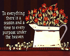 To Everything Is A Season Art Tile Ceramic Inspirational Quote Folk Wall Hanging
