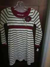 NWOT SAURETTE girls striped sweater dress with appliqued flower Sz S 4/5