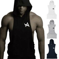 Men's Sleeveless Gym Cut off Sleeveless Hoodie Muscle Athletic Fitness Pullover