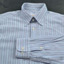 BRIONI Blue Multi Striped 100% Cotton Mens Casual Dress Shirt - LARGE