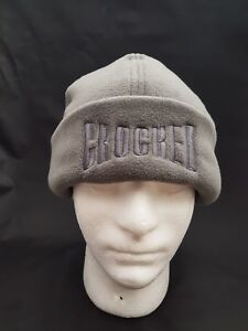 Embroidered Micro Fleece Beanie Grey Winter Hat Crocked.
