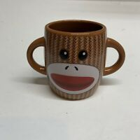 Galerie Sock Monkey Brown Double Handle Coffee Cup Mug