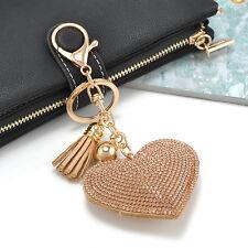 Heart Crystal Rhinestone Handbag Charm Pendant Keychain Keyring Key Chain GOLD