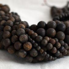 Natural Bronzite (brown) Frosted / MATTE Gemstone Round Beads - 4mm 6mm 8mm 10mm