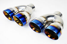 "Dual 4"" Quad Burn Style Stainless Steel Exhaust Tips Fits Scion FRS Subaru BRZ"