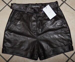 IRO Women's Indigo Leather Belted Shorts, WM30INDIG, Black, Size 36