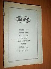BERNARD moteur 110 - 110Bis - 610 - 810 : Liste et tarif pièces 1968
