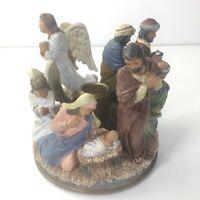 "Vintage Teleflora Nativity Candle Holder 4.75"" Wide Baby Jesus Mary & Angels"