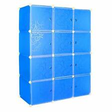Stylish DIY 4 Tier White Doors 12 Cubes Cabinet Storage Wardrobe (Blue)