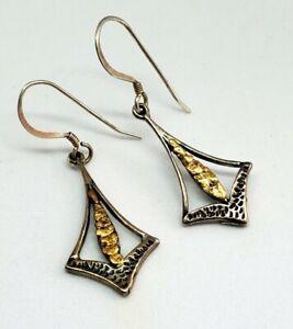 Sterling Silver Alaskan Gold Nugget Arrow Modernist Style Dangle Earrings