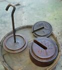 Set Of Vintage Platform Cast Iron Scale Weights With Holder Fairbanks Morse
