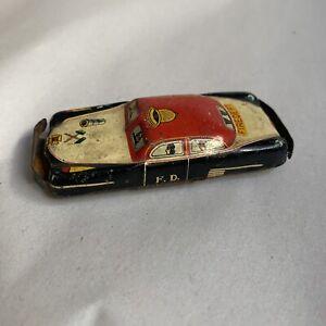 "Vintage Friction Tin Litho FIRE DEPT CHIEF CAR FD 101 JAPAN  3""  #HB1"