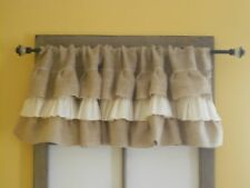 Triple Ruffled Burlap and Muslin Valance